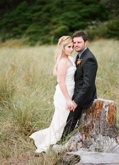 camille + cody   Ribboned Silk Gown from BHLDN   via: clayton austin photography   #BHLDNbride