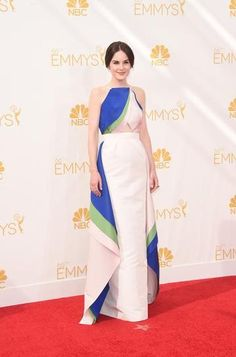 """""""Downton Abbey's"""" Michelle Dockery wearing a gown by Rosie Assoulin at the 2014 Emmy Awards"""