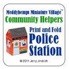 Community Helpers Police Station from Jerry Jindrich at Teachers Pay Teachers. Download the pdf file, print, cut and fold to make this 4-inch tall Police Station. Its the perfect size to use with popular little wooden toy trains. $1.99