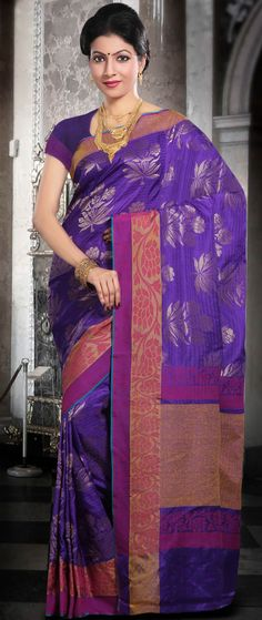 #Blue Pure #Banarasi Katan #Silk #Saree with Blouse @ $212.53 | Shop @ http://www.utsavfashion.com/store/sarees-large.aspx?icode=shm34