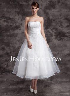 Wedding Dresses - $146.69 - A-Line/Princess Sweetheart Ankle-Length Taffeta Organza Wedding Dresses With Ruffle Lace Beadwork (002014997) http://jenjenhouse.com/A-Line-Princess-Sweetheart-Ankle-Length-Taffeta-Organza-Wedding-Dresses-With-Ruffle-Lace-Beadwork-002014997-g14997