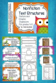 Owl Themed Nonfiction Text Structures.  Posters, graphic organizers, and interactive journal pages are all included in this packet that is aligned with Common Core standards for 4th and 5th grade.  $