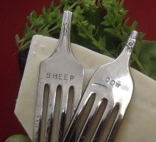 Cheese markers made from old forks and metal stamps- great idea
