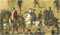 King Henry VIII followed by Sir Anthony Brown, Master of the Horse. From the Cowdray Engravings portraying the King's visit to Portsmouth, July 19, 1545