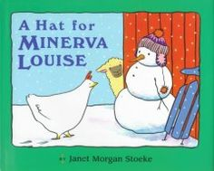February 25, 2014. Minerva Louise, a snow-loving chicken, mistakes a pair of mittens for two hats to keep both ends warm.