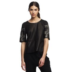 Victoire Leather Studded Top - Kenneth Cole