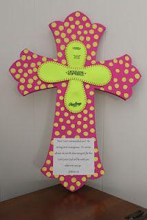 Pink and yellow Softball Cross Joshua 1:9