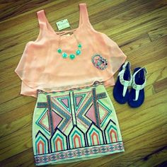Beautiful aztec shorts with coral top blouse and mint awesome necklace and braslates and cute ladies shoes the best summer teenage outfits