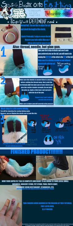 Fursuit DIY! How to use elastic on tails!