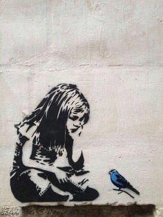 little girls, street artists, bluebird, graffiti, favorit artist, blue bird, birds, banksi, streetart