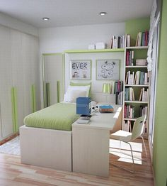 Bedroom, Small Bedroom Bed Cover Green Pillow White And Green Desk Lampp Green Study Desk Wood Yellow Modern Chair White Cabinet White Book ...