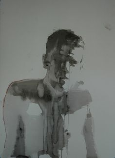 """Mark Horst: one bright morning no.1, 22"""" x 30"""", ink and conte on paper"""