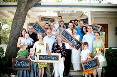 family pics, idea, family portraits, family reunions, chalkboard, famili photo, large families, large family photos, photographi