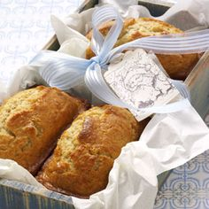 Eggnog Mini Loaves Recipe from Taste of Home -- The seasonal flavors of eggnog, rum extract and nutmeg shine through in these moist, golden loaves.