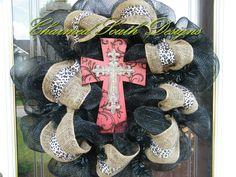 Leopard Burlap Cross Wreath. $65.00, via Etsy.