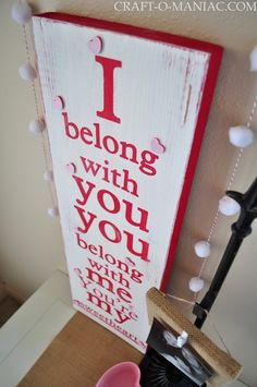 You're My Sweetheart- Song Lyric Painted Board. Do It