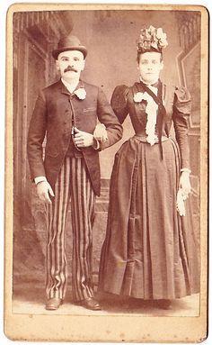 CDV of a dapper couple in Salem, MA. 1888. 1880s fashion