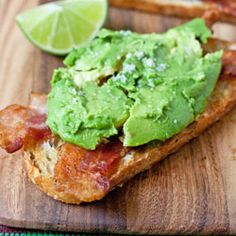 Avocado-Bacon Toasts...with a squeeze of lime and a sprinkling of salt...heaven