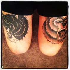 """""""my buddy sweets did both of these tattoos for me..it was done at his house. the wolf is rebel eight artwork and the grizzly bear i found on some blog. these two animals are the kings of woods."""""""