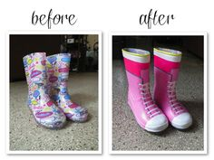 Lalaloopsy's Crumbs Sugar Cookie's boots from an old pair of rain boots for Halloween! :)