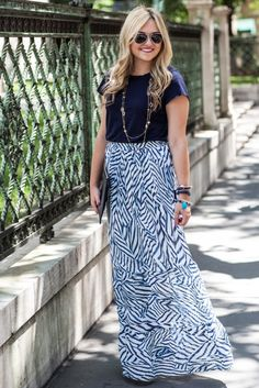 Blogger Bows & Sequins dresses up a Gap tee with an elegant maxi skirt.