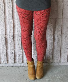 Loving this Red & Black Damask Leggings on #zulily! #zulilyfinds