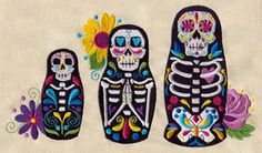 Okay so this pattern is not free, but it's awesome and only 7 bucks. I just didn't want to make ANOTHER pin board for my embroidery addiction, lol........Matryoshki Muertos | Urban Threads: Unique and Awesome Embroidery Designs sugar skull