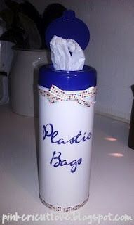 Plastic Bag holder from a Lysol Container