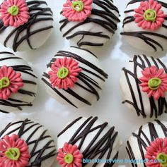 Zebra and Pink Flower Cake Balls - Do blue frosting for boy...