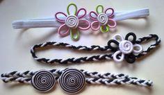 cintas para el pelo,blanco y negro y tonos pastel