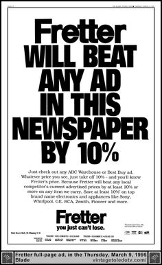 Vintage Toledo TV - Other Vintage Print Ads - Fretter will beat any ad in this newspaper by 10% (Thu 3/9/95 full-page ad)