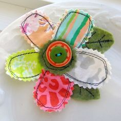 Stitched Scrap Fabric Flower Petal Pin, with Leaves