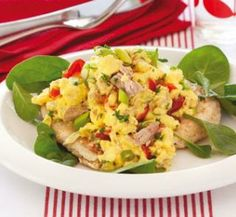 Scrambled eggs with tuna   Healthy Food Guide