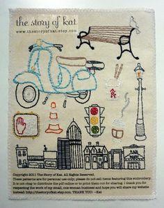 The City Set Hand Embroidery Pattern por thestoryofkat en Etsy