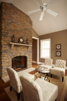 Hearth room with see-through stone fireplace