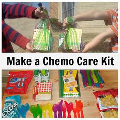 Updated-Making Chemo Care Packages. The boys put together 6 packages to give to those going through chemotherapy.  #serveothers #kindness #chemo