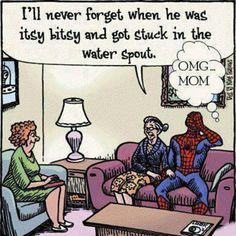 So cute - funny! www.DebBixler.com funni stuff, itsi bitsi, spiders, laugh, spider man, spiderman, humor, aunt, itsy bitsy spider