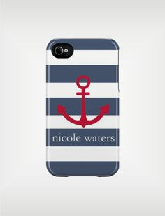 Personalized iPhone Case 4 / 4S or 3G - Navy Beach Stripe Anchor - Custom Designed Cover - original design by a drop of golden sun