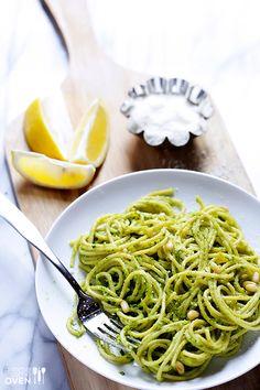 Arugula Pesto Pasta Recipe -- simple to make, and fresh and delicious for spring! | gimmesomeoven.com #recipe