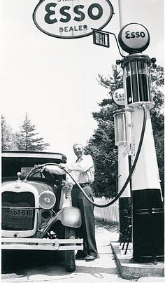 1930's Ford Model A getting a fill up.