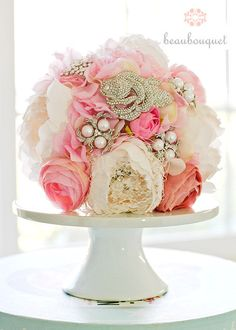 fresh flowers and brooch
