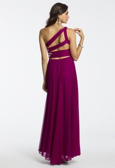 Mesh Beaded One Shoulder Dress from Camille La Vie and Group USA #homecomingdresses #homecoming