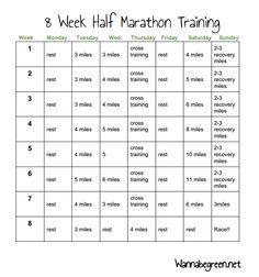 Half Marathon Training 8 week program