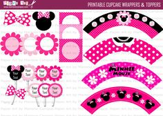 PRINTABLE Cupcake Wrapper and Topper Custom Minnie Mouse Pink Inspired, DIY Party Supply, Birthday Party, Party Decoration. $12.00, via Etsy.