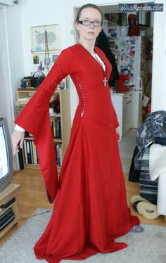 Racaire's red 12thC dress - basic shaping.  More on her blog: http://embroidery.racaire.at/?cat=245