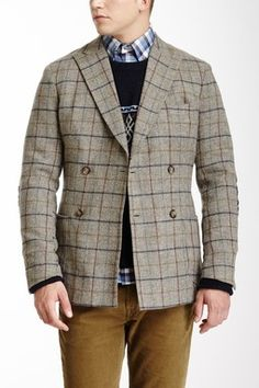 Double Breasted Plaid Wool Coat