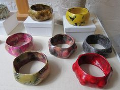 Papier mache bracelets
