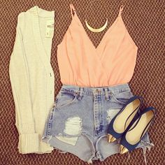 love this look the sweater and baby doll tank.