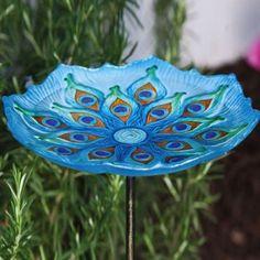 Amazon.com: Peacock Glass Birdbath with Metal Stake: Patio, Lawn & Garden