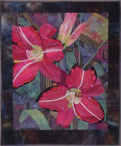 Daylily: Ruffled Red, machine pieced and quilted, by Ruth B. McDowell